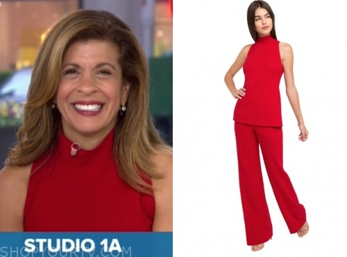 hoda kotb, the today show, red mock neck jumpsuit