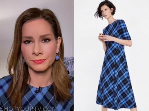 rebecca jarvis, good morning america, blue plaid midi dress