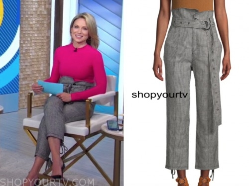 amy robach, good morning america, plaid paperbag cropped pants