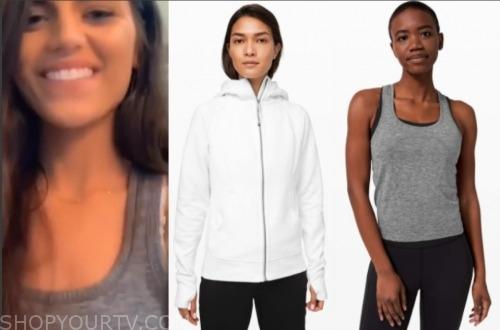 madison, the bachelor, white hoodie, grey tank top