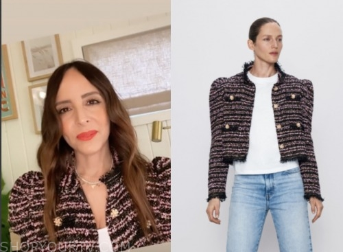 lilliana vazquez, e! news, tweed jacket