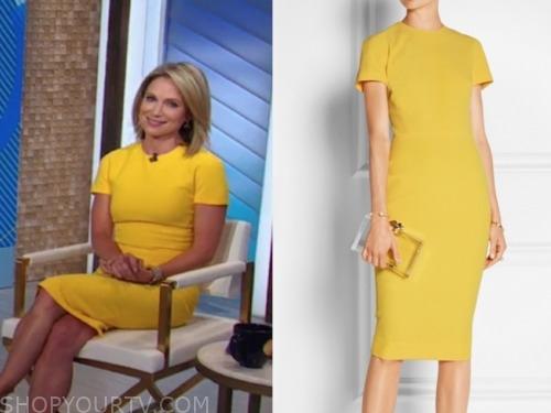 amy robach, yellow sheath dress, good morning america