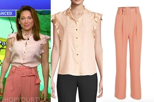 ginger zee, good morning america, pink dot ruffle top, pink belted pants