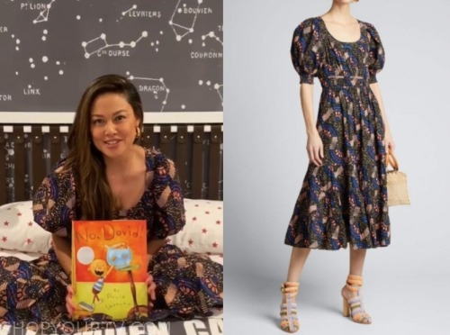 vanessa lachey, love is blind, printed midi dress