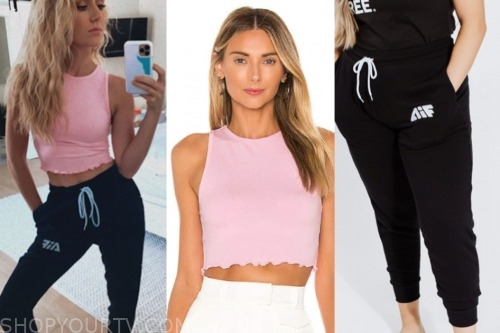 lauren burnham, pink crop top, black sweatpants