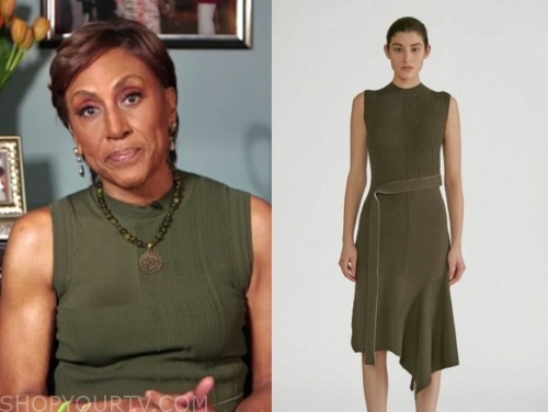 robin roberts, good morning america, olive green knit dress