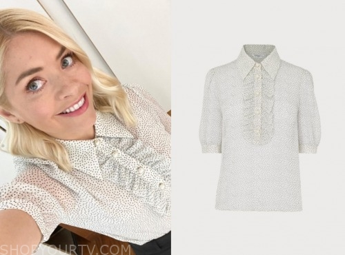 holly willoughby, this morning, pearl button blouse