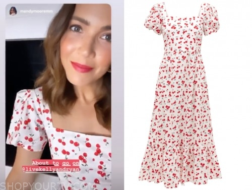 mandy moore, live with kelly and ryan, cherry print midi dress