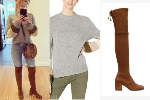 ashley spivey, the bachelor, stripe sleeve sweater, brown suede boots