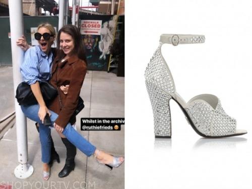 E! News, silver embellished sandals , morgan stewart