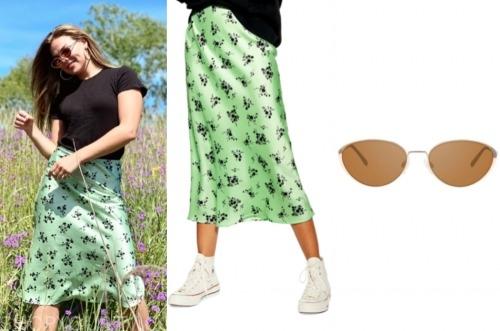 hannah brown, green satin skirt, sunglasses, the bachelorette