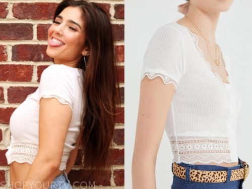 jamie, the bachelor: listen to your heart, white lace crop top