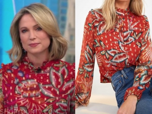 amy robach, red floral blouse, good morning america