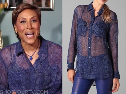 robin roberts, blue snakeskin blouse, good morning america
