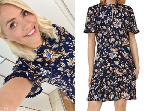this morning, holly willoughby, blue floral dress
