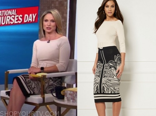 good morning america, amy robach, beige sweater, black and beige knit skirt