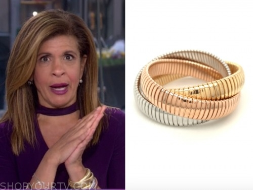 the today show, hoda kotb, silver, gold, and rose gold bracelets