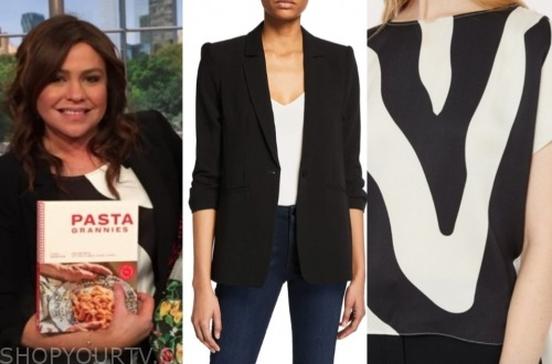 the rachael ray show, rachael ray, zebra top, black blazer