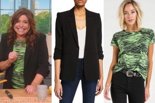the rachael ray show, rachael ray, black blazer, green tiger tee