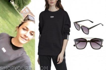 savannah, listen to your heart, black sweatshirt, black sunglasses