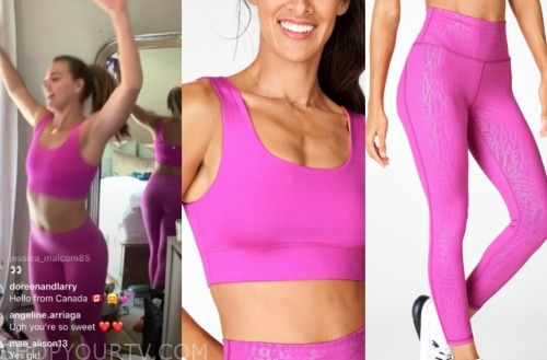 hannah brown, the bachelorette, hot pink sports bra and leggings