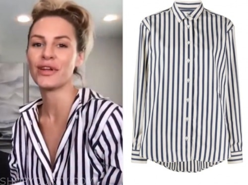 morgan stewart, blue and white striped shirt, E! news