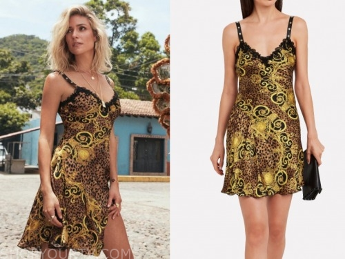 kristin cavallari, leopard baroque silk dress