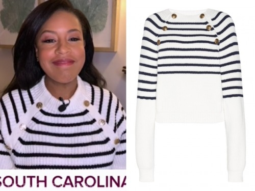 sheinelle jones, the today show, striped button sweater
