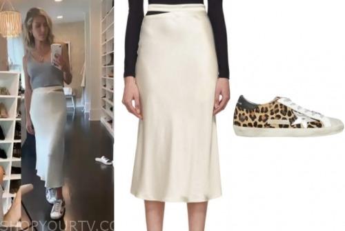 kristin cavallari, ivory silk skirt, leopard sneakers