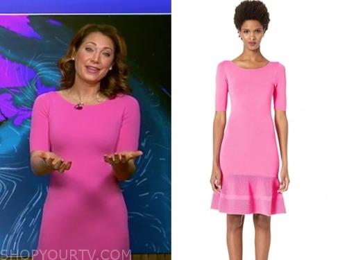 ginger zee, good morning america, hot pink drop waist dress