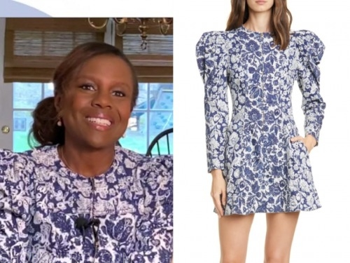 deborah roberts, blue and white floral puff sleeve dress, good morning america