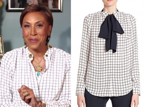 robin roberts, black and white grid blouse, good morning america