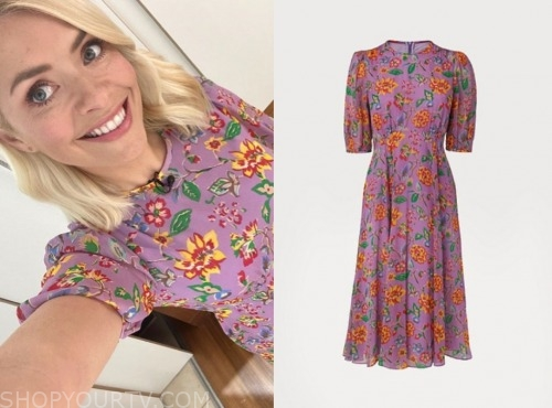 holly willoughby, purple floral midi dress, this morning