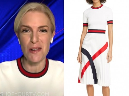 janice dean, fox and friends, ivory and red contrast trim dress