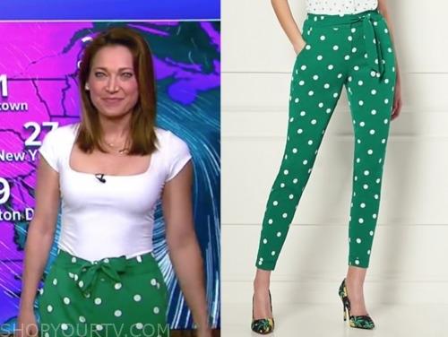 ginger zee, green and white polka dot pants, good morning america