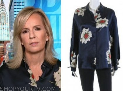 dr. jennifer ashton, good morning america, navy silk floral blouse