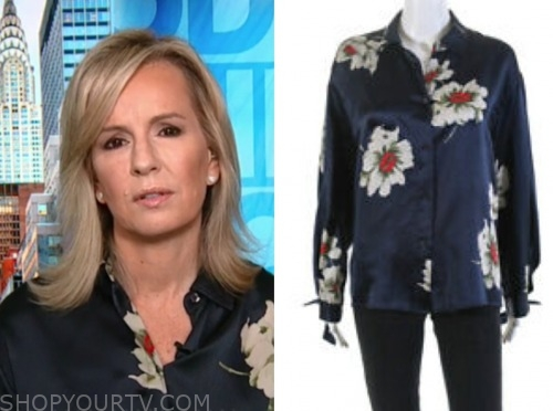 dr. jennifer ashton, good morning america, navy silk floral blouse
