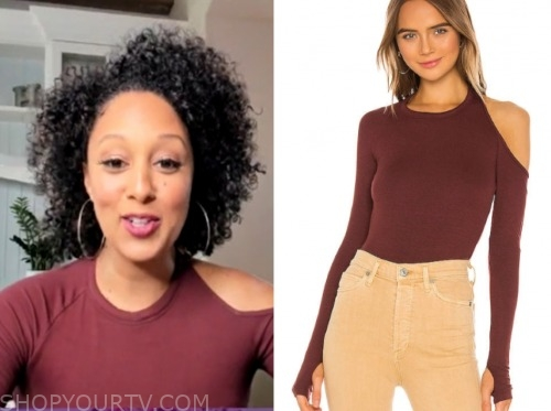 tamera mowry, the real, burgundy cutout shoulder top