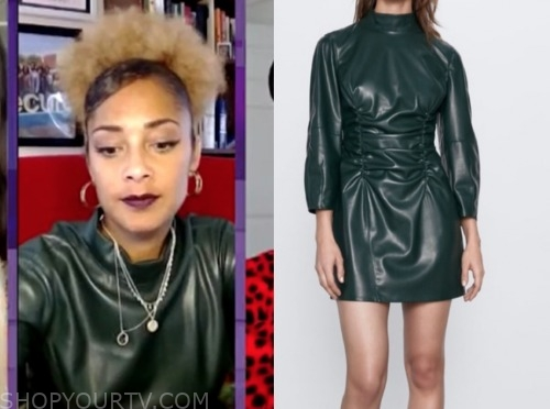 amanda seales, the real, green leather mock neck dress