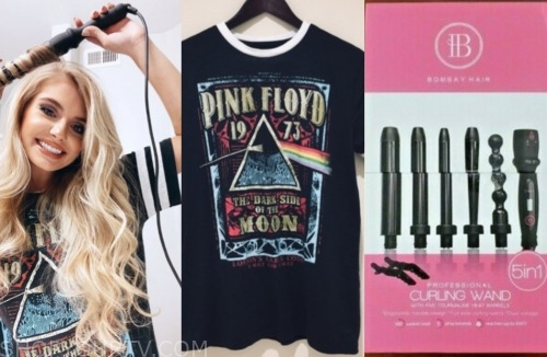 demi burnett, the bachelor, pink floyd tee, curling iron
