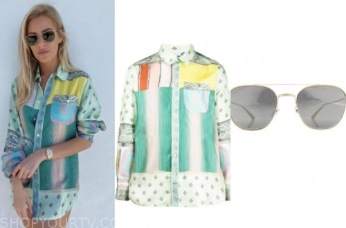 morgan stewart, E! news, green mixed print shirt, sunglasses