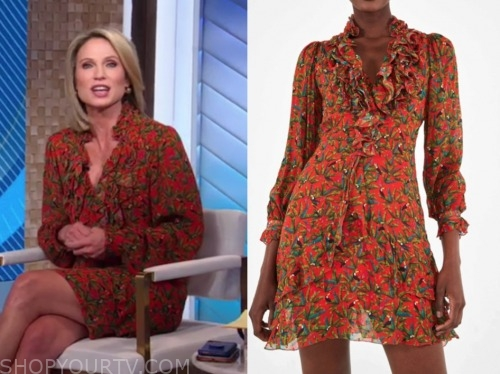 amy robach, good morning america, red and green ruffle printed dress