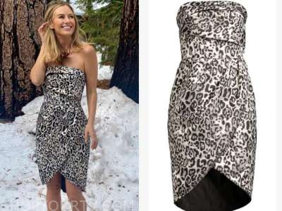annaliese puccini, the bachelor, leopard strapless dress