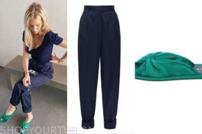 morgan stewart, green satin slides, navy blue pants