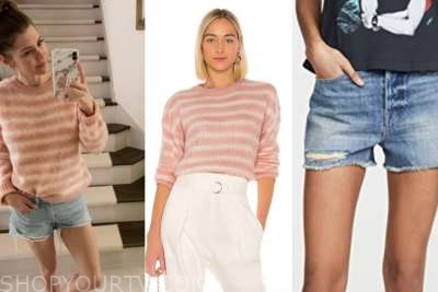ashlee frazier, pink striped sweater, denim shorts, the bachelor