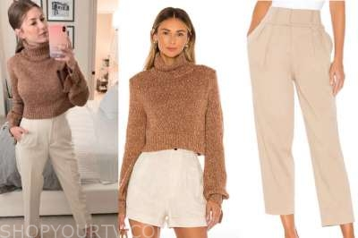 ashlee frazier, the bachelor, brown turtleneck sweater, beige pants
