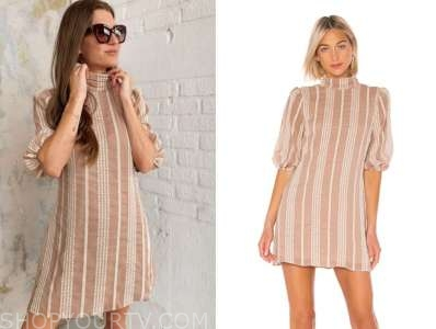 ashlee frazier, the bachelor, tan striped dress