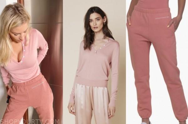 morgan stewart, E! news, pink sweater, pink sweatpants