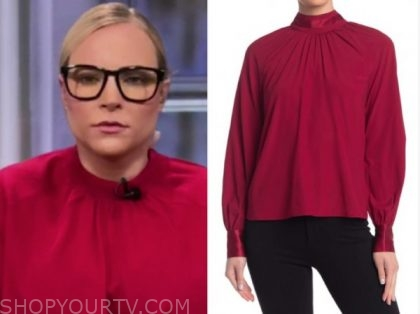 meghan mccain, the view, red mock neck blouse