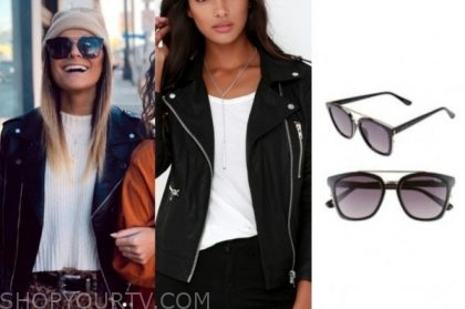 savannah, listen to your heart, leather jacket, black sunglasses